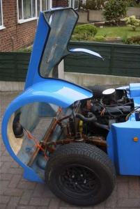 The inside of the engine compartment of my Eagle P21 Kit Car showing how the Bonnet lifts up