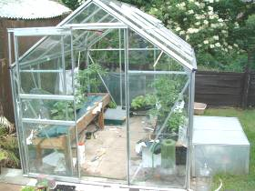 The glass greenhouse showing all the Hydroponic systems