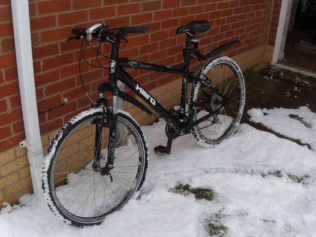 My Haro mountain bike with it's snow stud tires