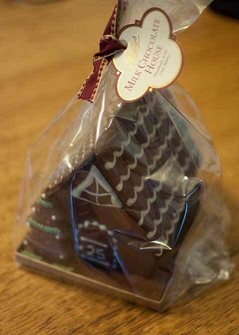 The chocolate house inside its wrapper.