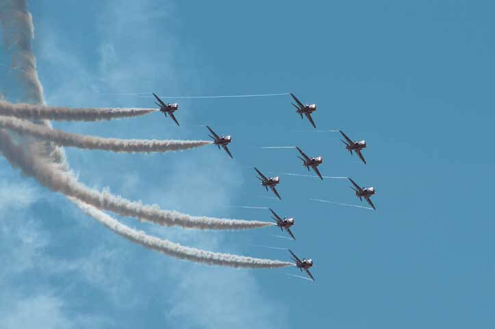 The red arrows fly by at the southport air show