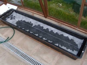 Hydroponic NFT channel with the spreader mat all layed